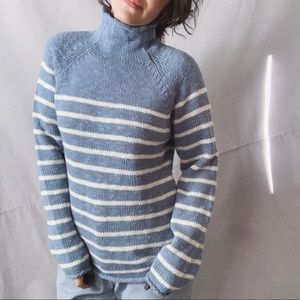 LL BEAN Striped Turtleneck Sweater